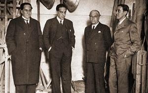 De izquierda a derecha, Antonio Machado, Gregorio Marañón, José Ortega y Gasset, y Ramón Pérez de Ayala